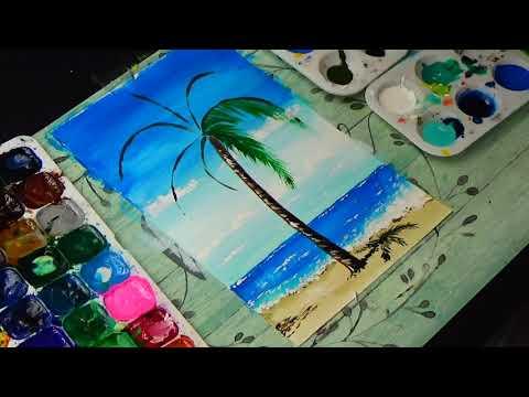 Рисуем летний пейзаж || Небо, море и пальма