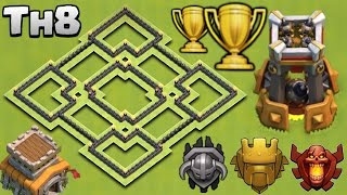 NEW BEST TOWN HALL 8 (TH8) TROPHY BASE WITH BOMB TOWER | CLASH OF CLANS