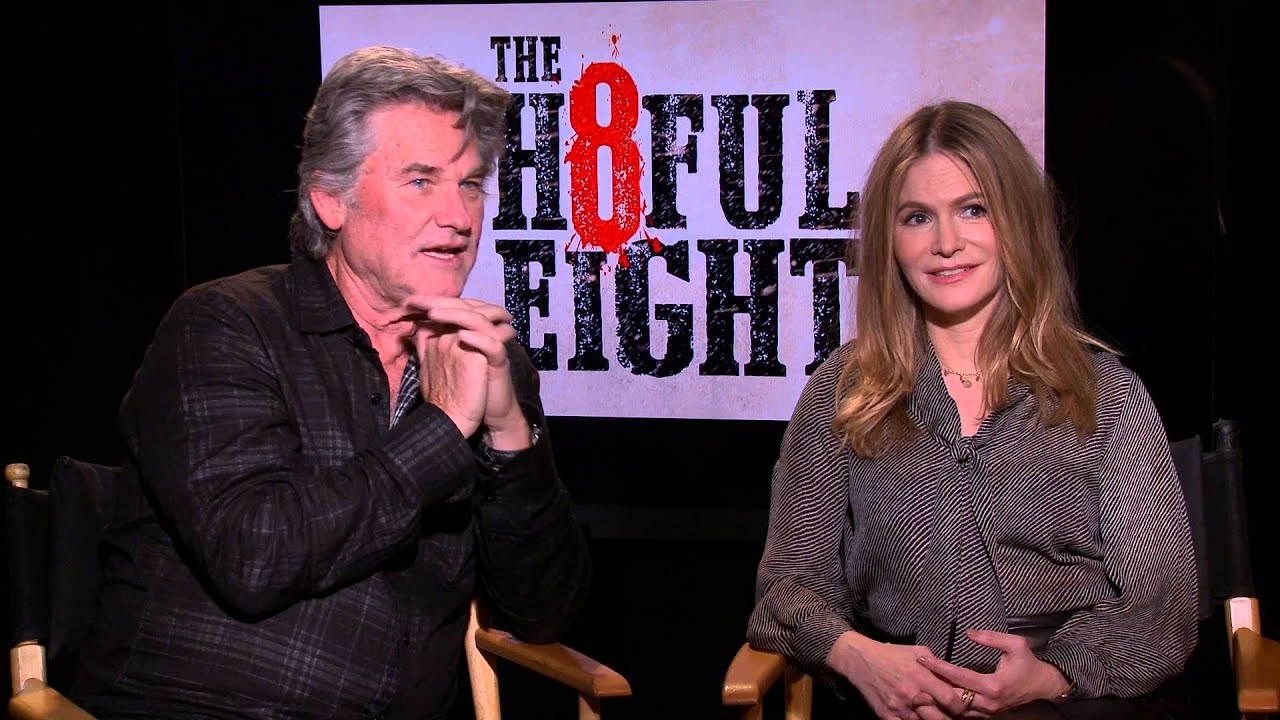 The Hateful Eight Backstage With Kurt Russell Jennifer Jason Leigh Youtube