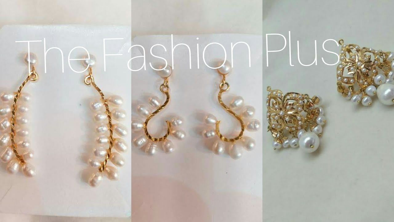 Pearls Earrings Designs In Pure Gold And Ear Studs