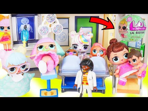 Custom Unicorns LOL Surprise Doll Takes Lil Sisters to Ambulance Hospital + McDonalds Drive Thru!