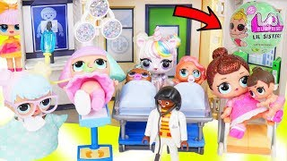 Custom Unicorns LOL Surprise Doll Takes Lil Sisters to Ambulance Hospital + McDonalds Drive Thru!