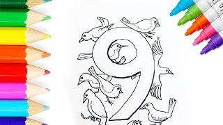 🚀How to Draw and Color Number Nine 9 ⛵️ Learn Numbers for Kids