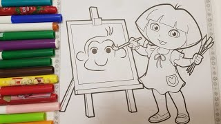 coloring Dora The explorer monkey painting adventure page with crayola doodle  scents markers