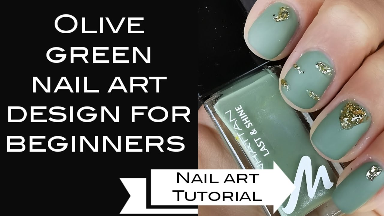 Olive Green Nail Art Design For Beginners