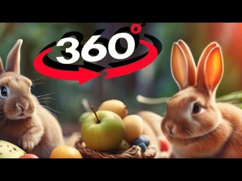 VR 360 Bunny eats Apple VR Video 360° [Google Cardboard VR Box] Kids Virtual Reality Video 360 4K
