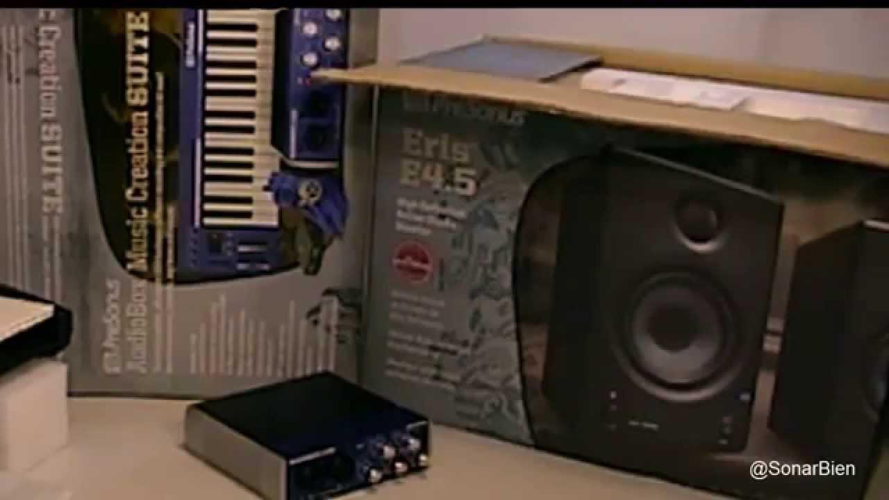 monitores presonus eris e4 5 junto al kit creation suite p3 youtube. Black Bedroom Furniture Sets. Home Design Ideas
