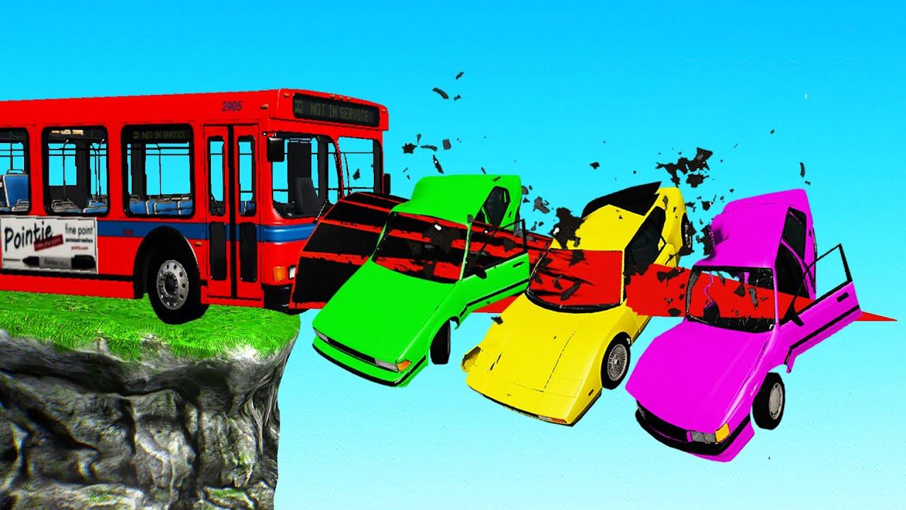 3 CARS vs SPIKE BUS! (BeamNG Multiplayer)