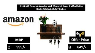 A10SHOP Omega 6 Wooden Wall Mounted Decor Shelf with Key Hooks (Walnut,12x5x7-inches)