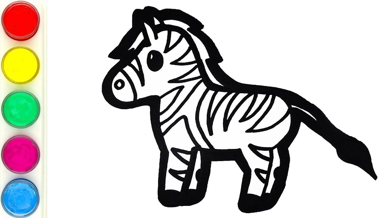 Belajar Mengenal Hewan Liar Untuk Anak Cara Menggambar Dan Mewarnai Kuda Zebra Untuk Anak Anak