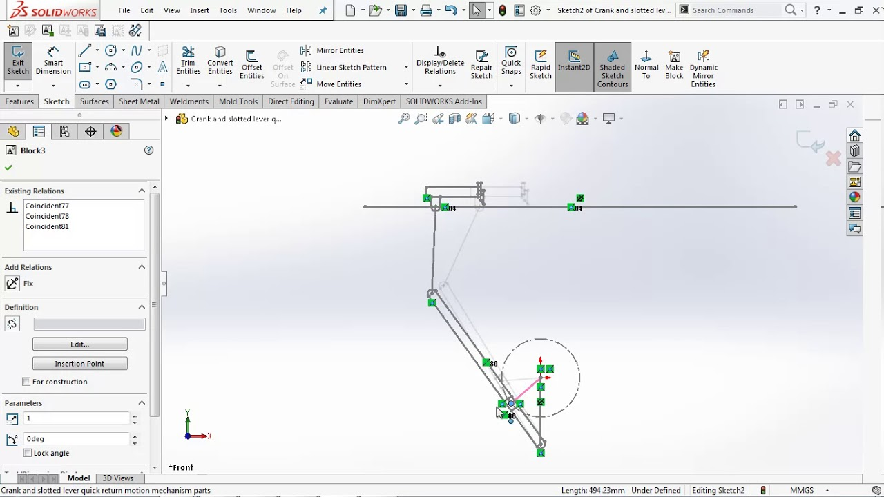crank & slotted lever quick return motion mechanism by using block tool in  solidworks