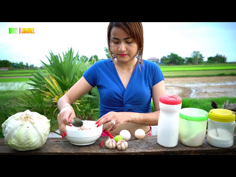 OMG !! Viral Supper Food 2017 - Beautiful Girl Cooking Cabbage Mix Pork and Egg Recipe Village style