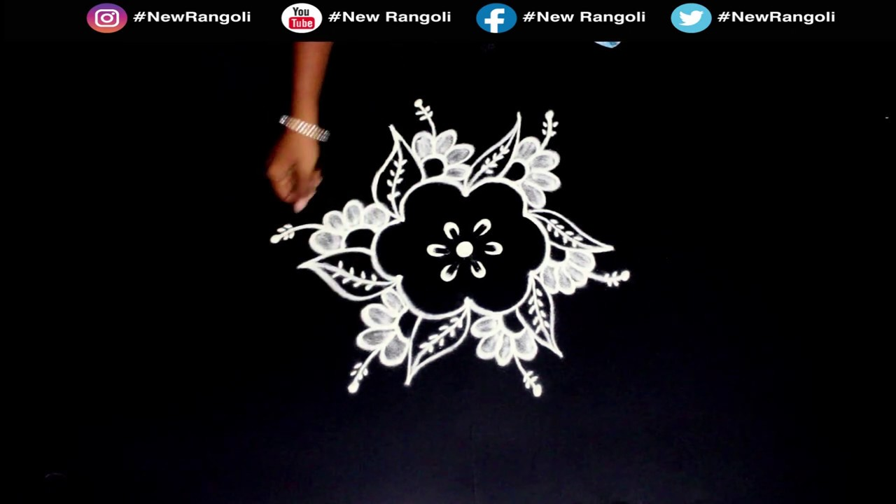 Very Easy  Flower Rangoli for Daily Use Very Simple Rangoli 3*2 | Easy Beautiful Rangoli NEW RANGOLI