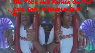 Hilarious/Scary(She Took Her Father On The Ride Can He Handle It) Sling Shot Ride  19