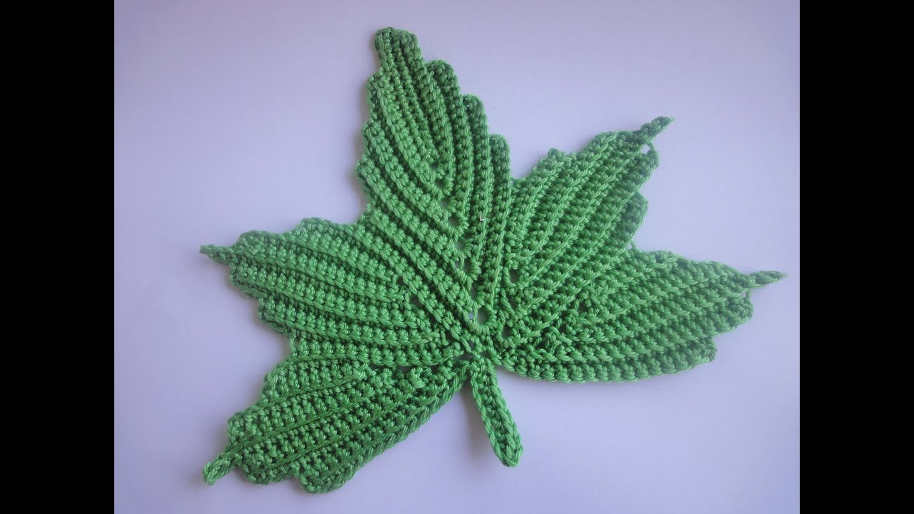 Crochet Leaf : ... ???? ????? 1 The maple leaf Crochet Part 1 - YouTube