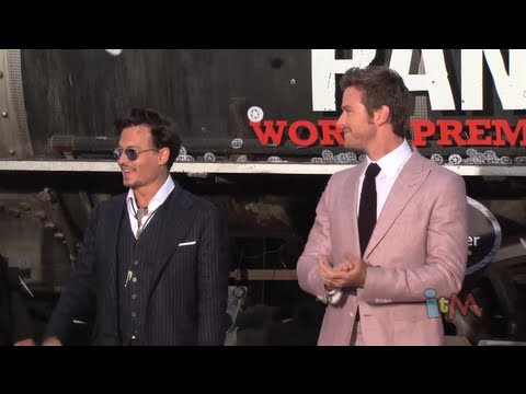 Johnny Depp, Armie Hammer at The Lone Ranger world premiere at Disneyland with red carpet arrivals