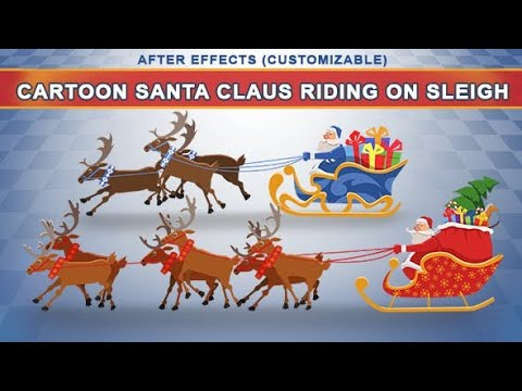 Cartoon Santa Claus Riding On Sleigh Top After Effects Templates