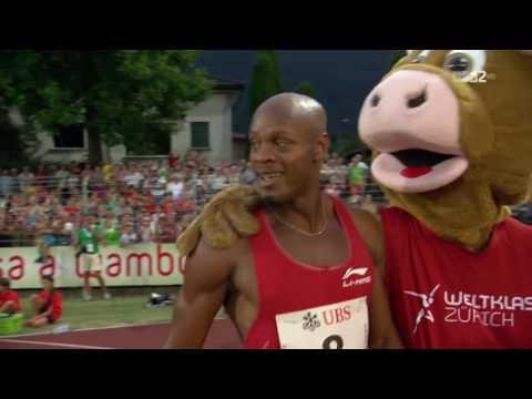 238 100m Asafa Powell 9 87 Bellinzona 2015 + Interview