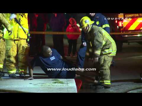 Roof Collapse, 5 Firefighters Injured / Compton   RAW FOOTAGe