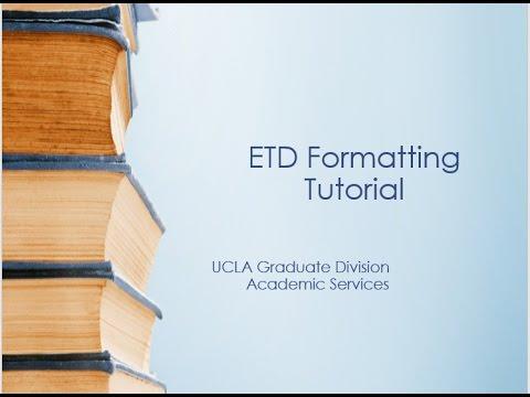 ETD Formatting Requirements Tutorial
