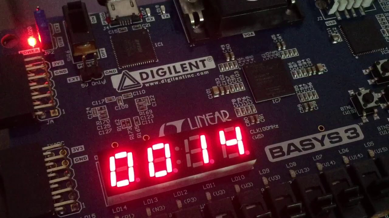 VHDL code for Seven-Segment Display on Basys 3 FPGA