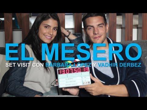 Bárbara López y Vadhir Derbez desde el set de El mesero
