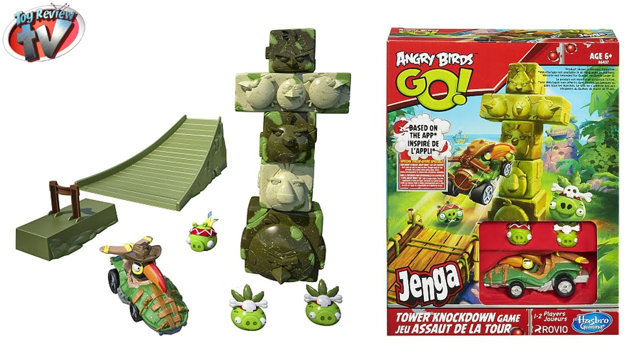 Angry Birds Go Toys : Angry birds go jenga tower knockdown toy review hasbro