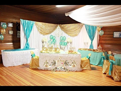 Faos events decoracion color dorado y aqua para bautizo - Decoracion de bautizo ...