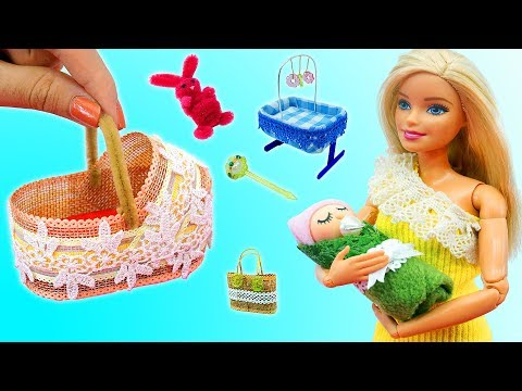 DIY BARBIE HACKS AND CRAFTS: Making Miniature Baby Set for Barbie Doll
