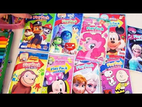 Learn Colors With Coloring Play Packets Frozen, My Little Pony, Curious George, Minnie, Paw Patrol