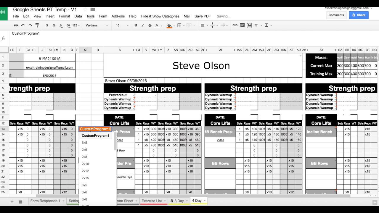 1 click save to pdf with google sheets personal training for Personal trainer workout template