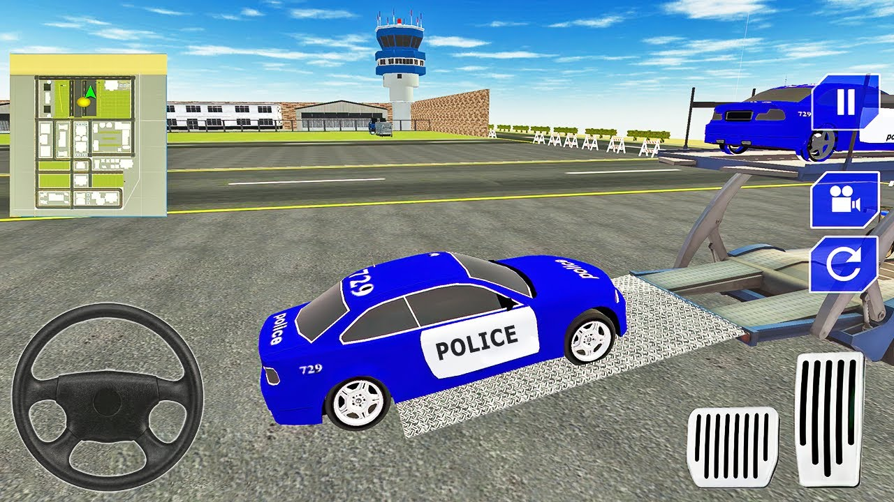 Transporting Police Car in Transporter Plane - Trailer Truck Driver - Android Gameplay