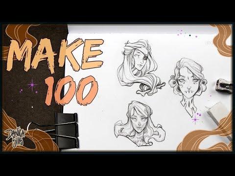 Make 100 Challenge • Sketching Enamel Pin Designs • Creepy Girls