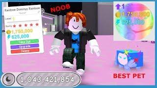 Noob with Rainbow Dominus Rainbow! Unlocked All Areas Instantly! Best Pet! - Roblox Pet Simulator