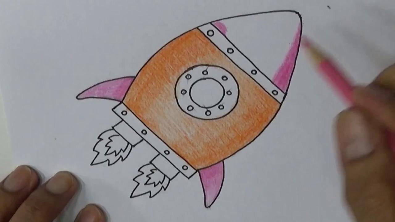 Cara menggambar kartun dengan pensil menggambar roket simple drawing