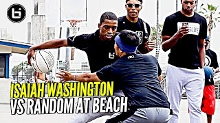 JellyFam Isaiah Washington 1 on 1 vs Random Fan at Venice Beach!!! #BILAAG Weekend
