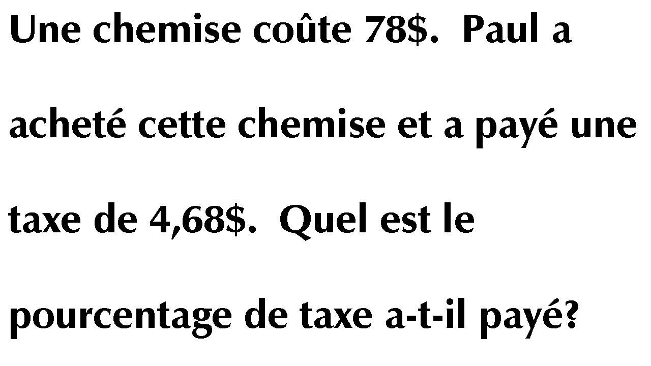 Pourcentage - Math U00e9matique Secondaire 2- Taxe