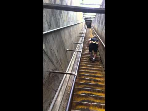 Frank Recore running stairs up to top of DiamondHead