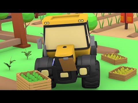 Tiny Trucks at the FARM ! Kids Animation with Street Vehicles Bulldozer, Excavator & Crane