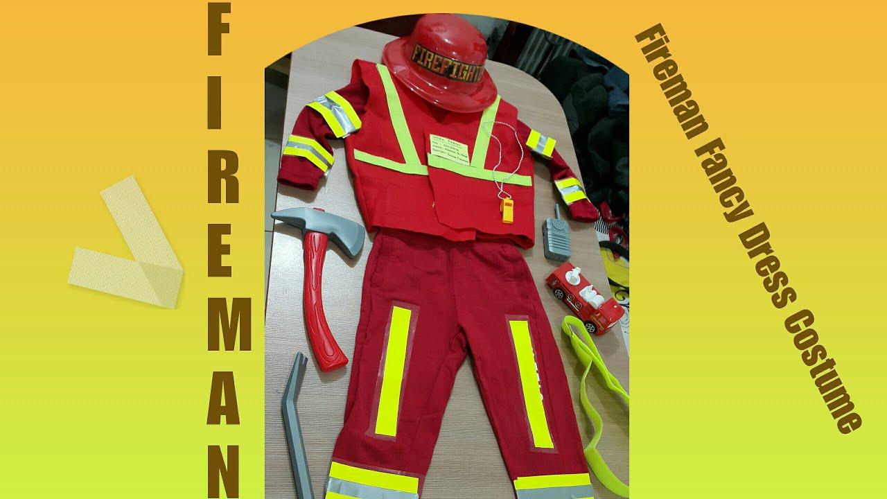Kids Fancy Dress Fireman Costume Community Helpers Fire Fighter