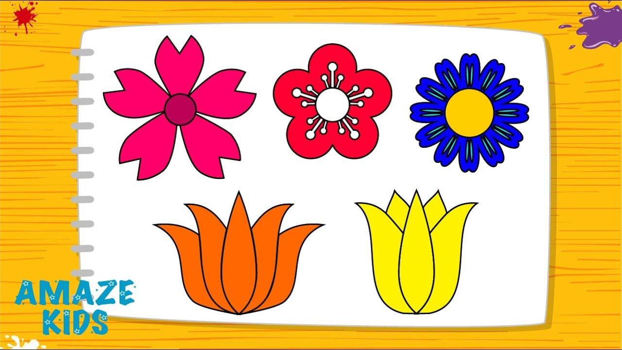 Как Нарисовать Цветы для Детей🌼 Рисуем Рисунки Своими ...