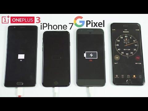 Google Pixel vs iPhone 7 vs OnePlus 3 - Battery Charging Speed Test!