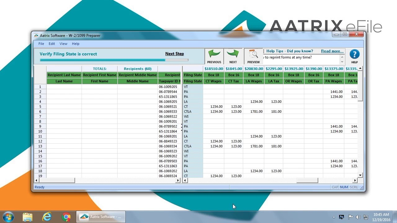 Aatrix COMPLETE 1099 eFiling Demo