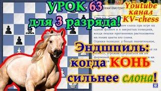 Эндшпиль - когда Конь сильнее Слона! - Урок 63 для 3 разряда.