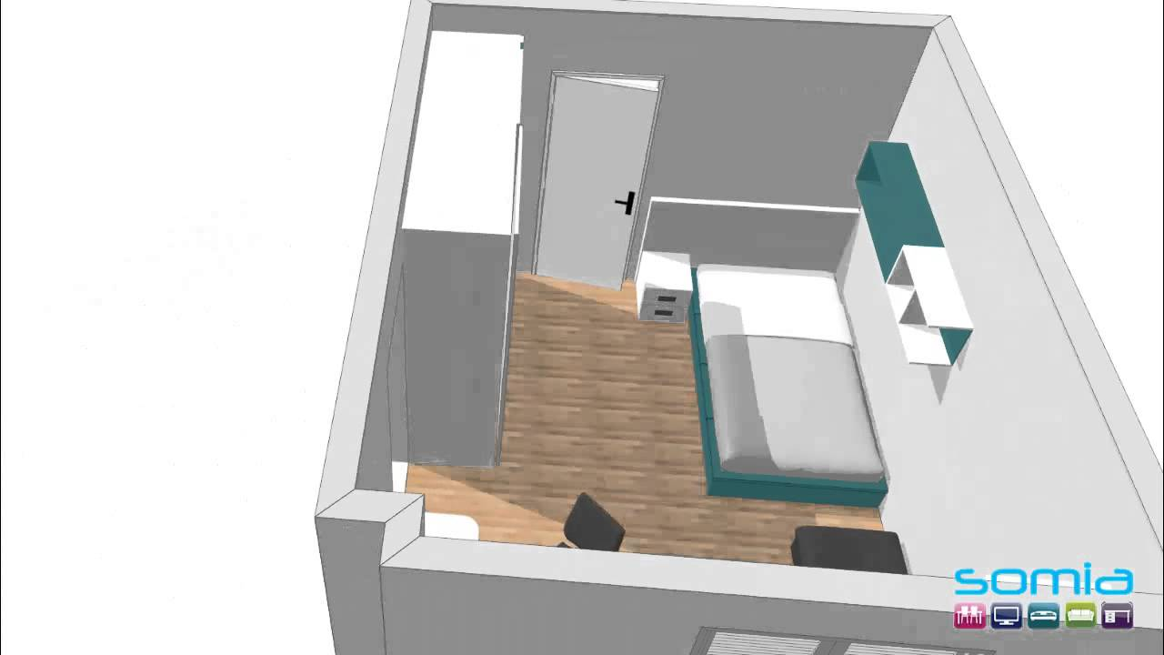 Dise o 3d habitacion juvenil a medida somia muebles for Programa diseno habitacion juvenil