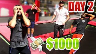Last To Stop Bouncing On The Trampoline Wins $1000 - Challenge