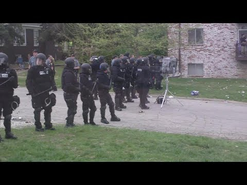 Riot Police Using LRAD Sound Cannon Against Students
