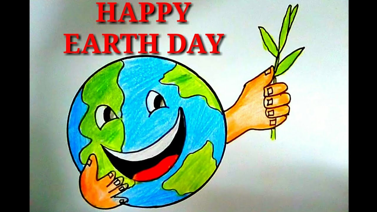 Drawing For Happy Earth Day Save Earth Save Life Easy Colourful Drawing Poster For Kids