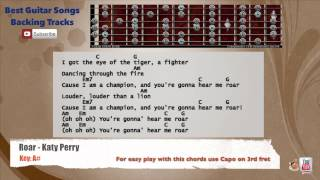 Roar - Katy Perry Guitar Backing Track with scale, chords and lyrics