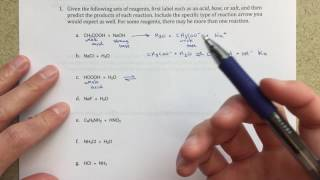 Predicting Products of Acid/Base Reactions